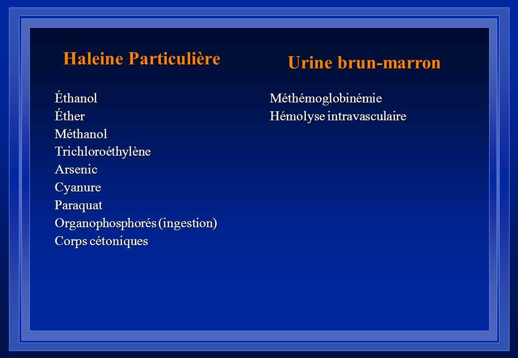 Haleine Particulière Urine brun-marron