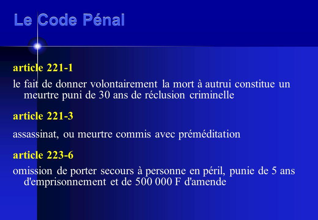 Le Code Pénal article 221-1. le fait de donner volontairement la mort à autrui constitue un meurtre puni de 30 ans de réclusion criminelle.