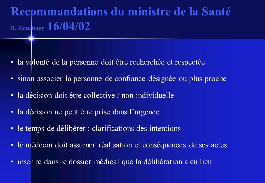 Recommandations du ministre de la Santé