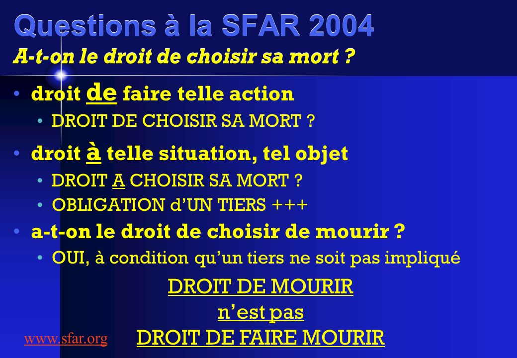 Questions à la SFAR 2004 A-t-on le droit de choisir sa mort