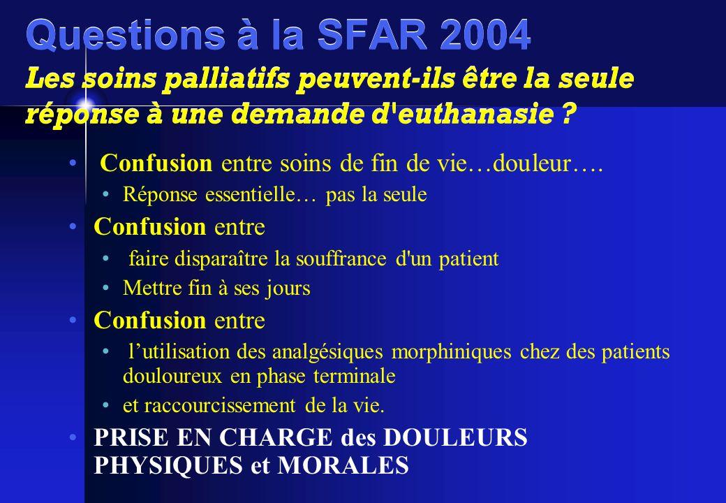Questions à la SFAR 2004 Les soins palliatifs peuvent-ils être la seule réponse à une demande d euthanasie