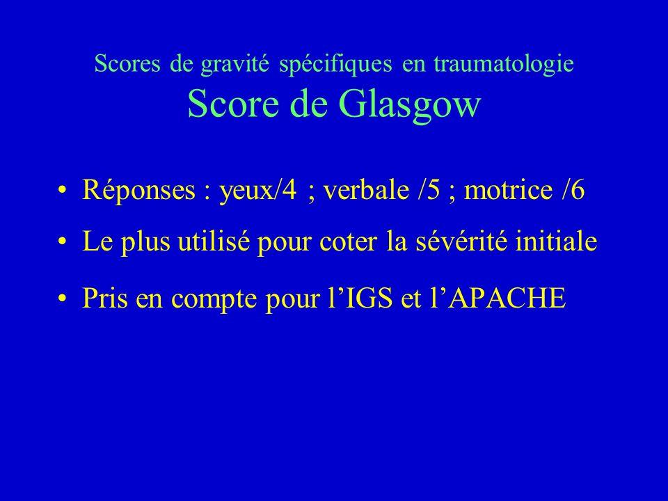 Scores de gravité spécifiques en traumatologie Score de Glasgow
