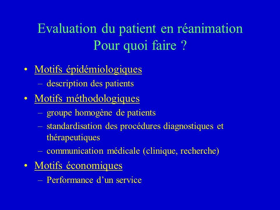 Evaluation du patient en réanimation Pour quoi faire