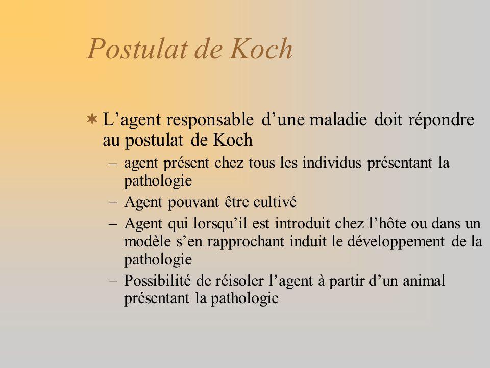 Postulat de Koch L'agent responsable d'une maladie doit répondre au postulat de Koch. agent présent chez tous les individus présentant la pathologie.