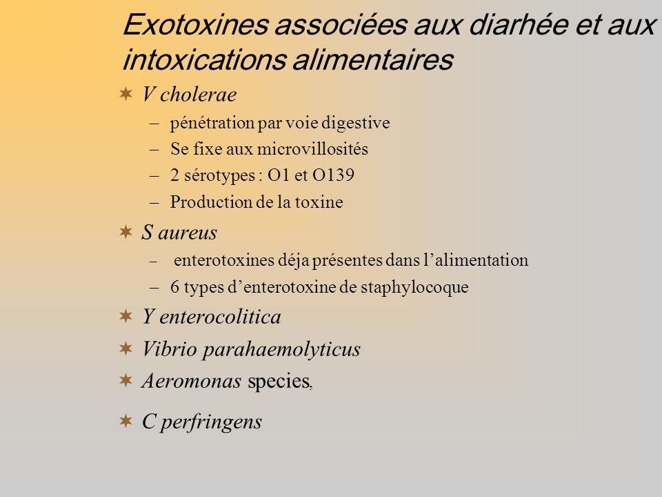 Exotoxines associées aux diarhée et aux intoxications alimentaires