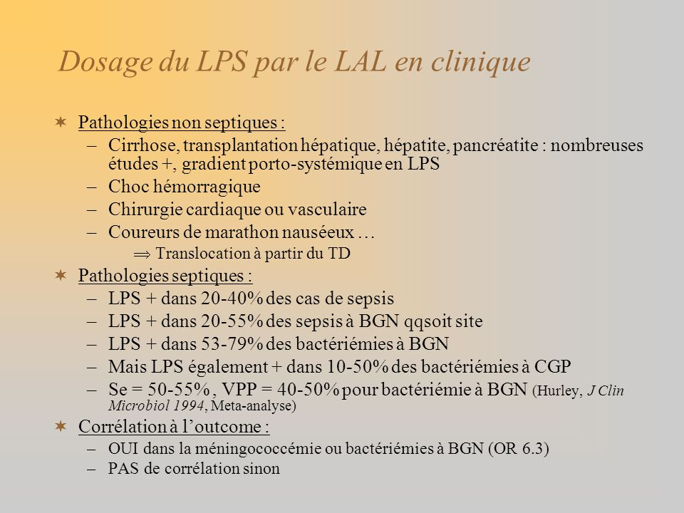 Dosage du LPS par le LAL en clinique