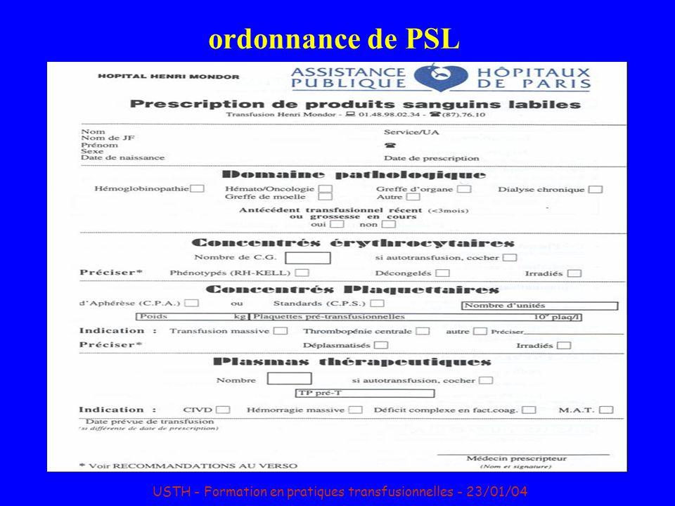 ordonnance de PSL USTH - Formation en pratiques transfusionnelles - 23/01/04