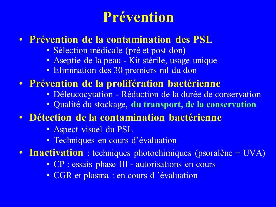 Prévention Prévention de la contamination des PSL