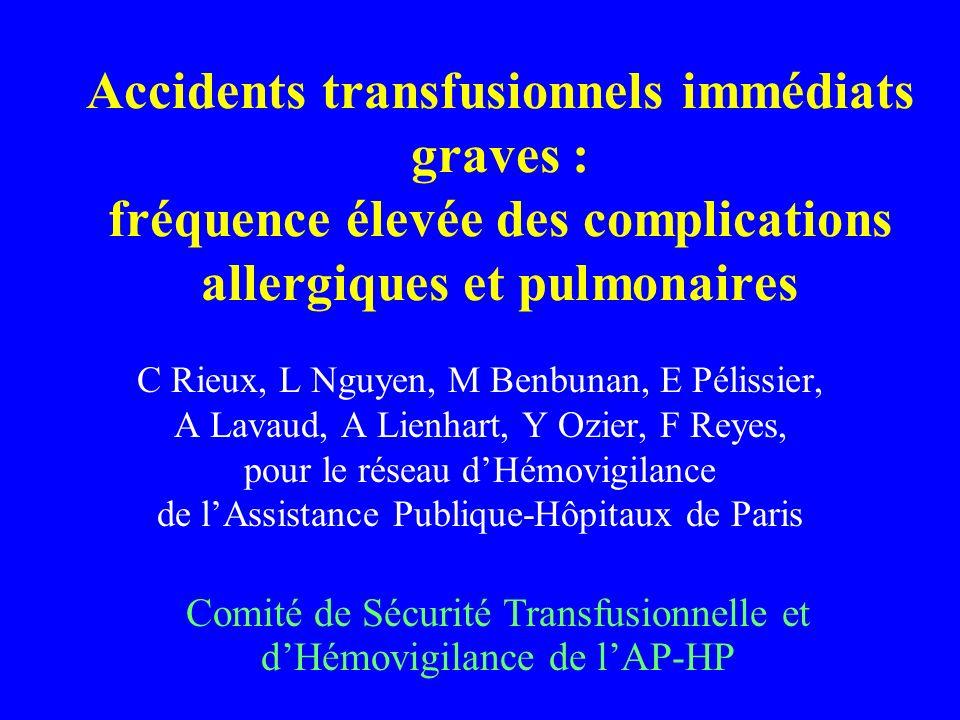 Accidents transfusionnels immédiats graves : fréquence élevée des complications allergiques et pulmonaires
