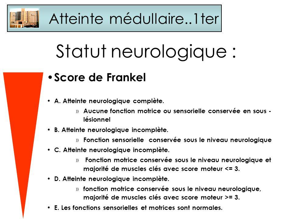 Statut neurologique : Atteinte médullaire..1ter Score de Frankel