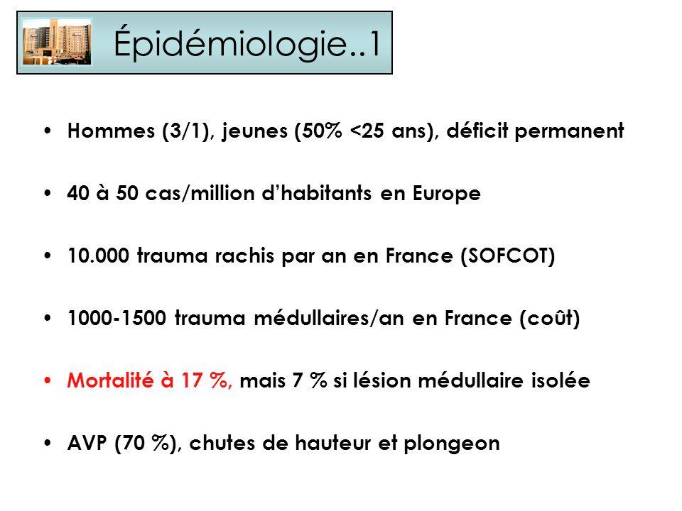 Épidémiologie..1 Hommes (3/1), jeunes (50% <25 ans), déficit permanent. 40 à 50 cas/million d'habitants en Europe.