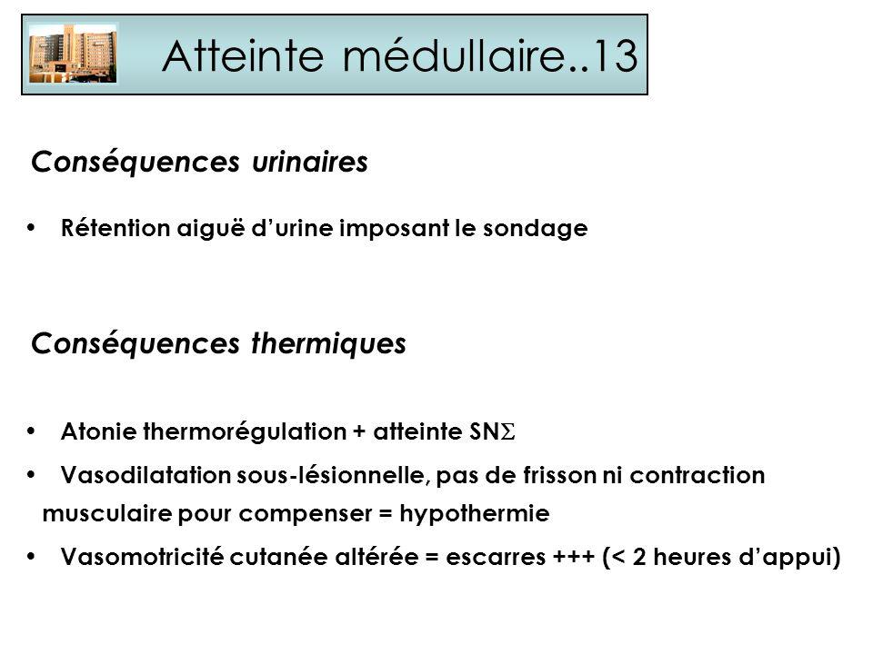 Atteinte médullaire..13 Conséquences urinaires Conséquences thermiques