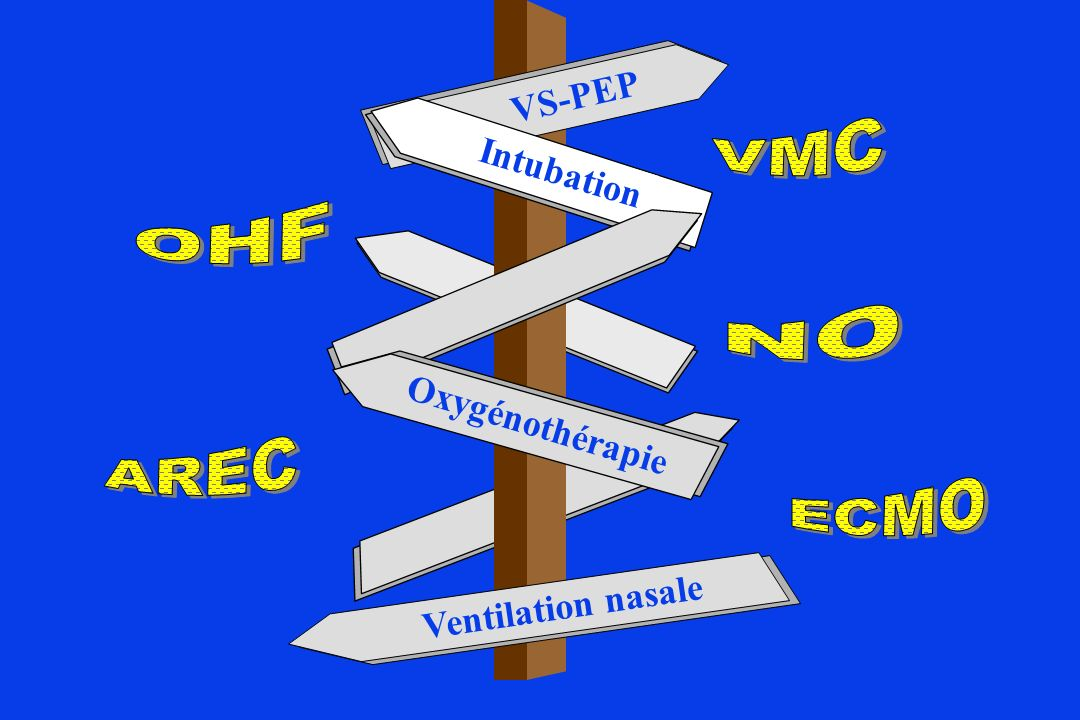 VS-PEP VMC Intubation OHF NO Oxygénothérapie AREC ECMO Ventilation nasale
