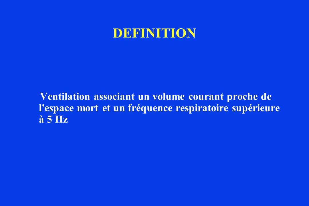 DEFINITIONVentilation associant un volume courant proche de l espace mort et un fréquence respiratoire supérieure à 5 Hz.