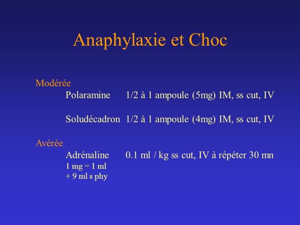 Anaphylaxie et Choc Modérée
