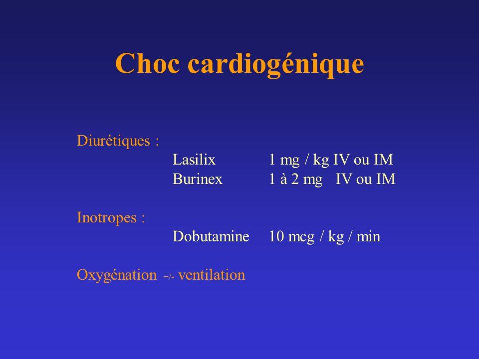 Choc cardiogénique Diurétiques : Lasilix 1 mg / kg IV ou IM