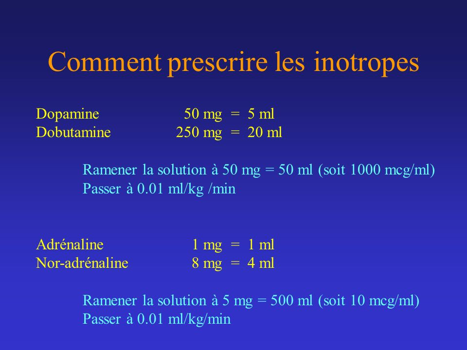 Comment prescrire les inotropes