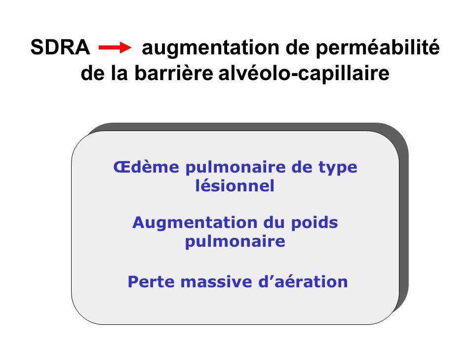 SDRA augmentation de perméabilité de la barrière alvéolo-capillaire