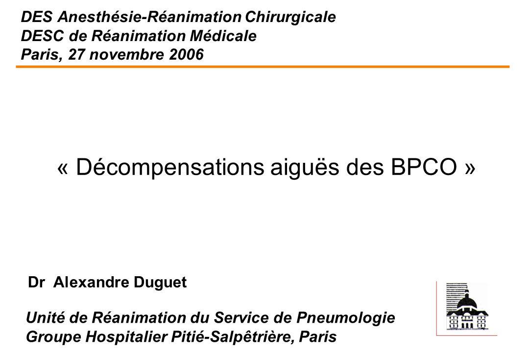 « Décompensations aiguës des BPCO »