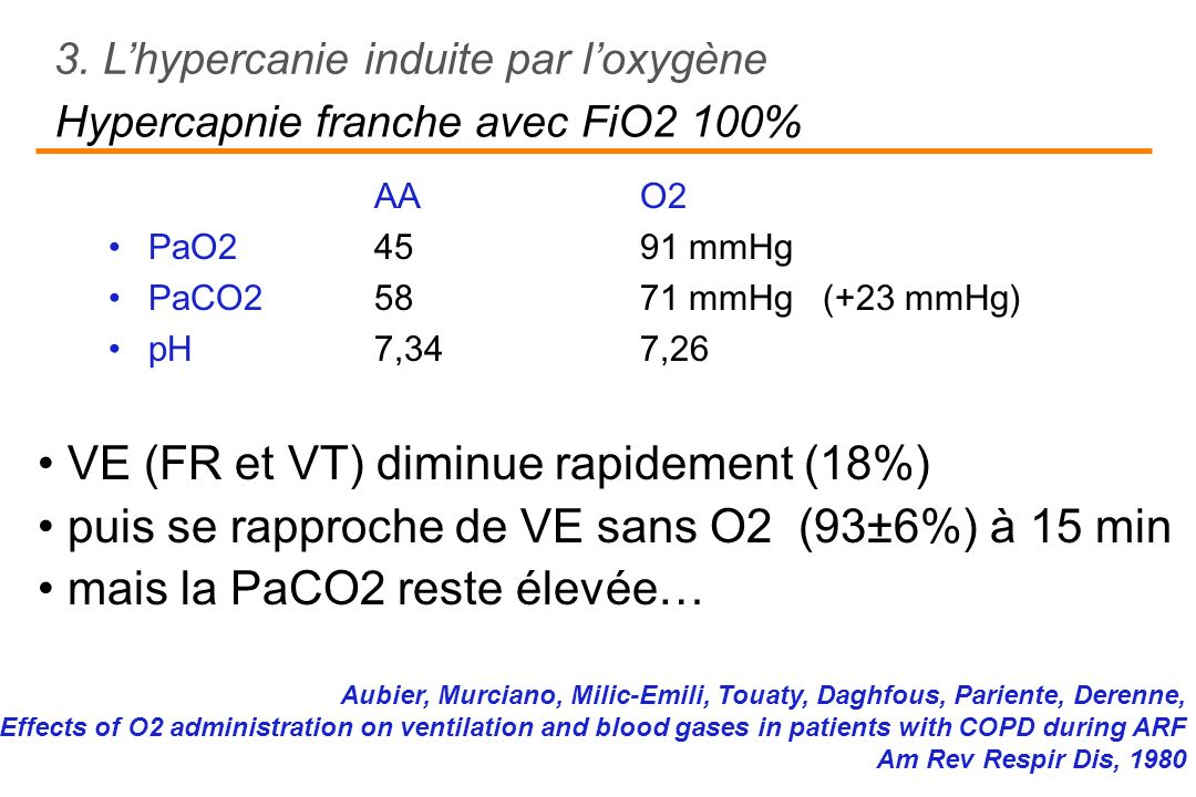 Hypercapnie franche avec FiO2 100%