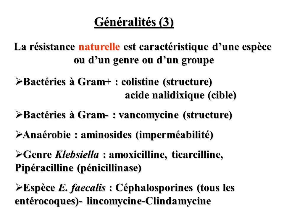 Généralités (3) La résistance naturelle est caractéristique d'une espèce ou d'un genre ou d'un groupe.