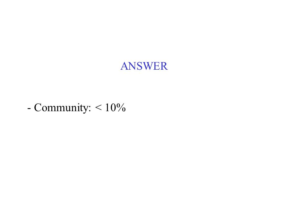 ANSWER - Community: < 10%