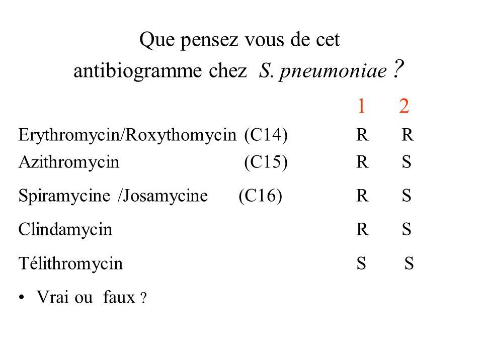 Que pensez vous de cet antibiogramme chez S. pneumoniae