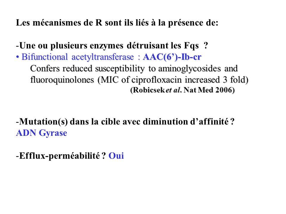 Les mécanismes de R sont ils liés à la présence de: