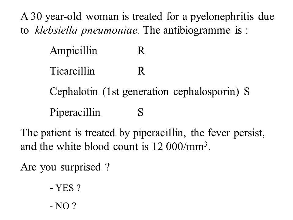 Cephalotin (1st generation cephalosporin) S Piperacillin S