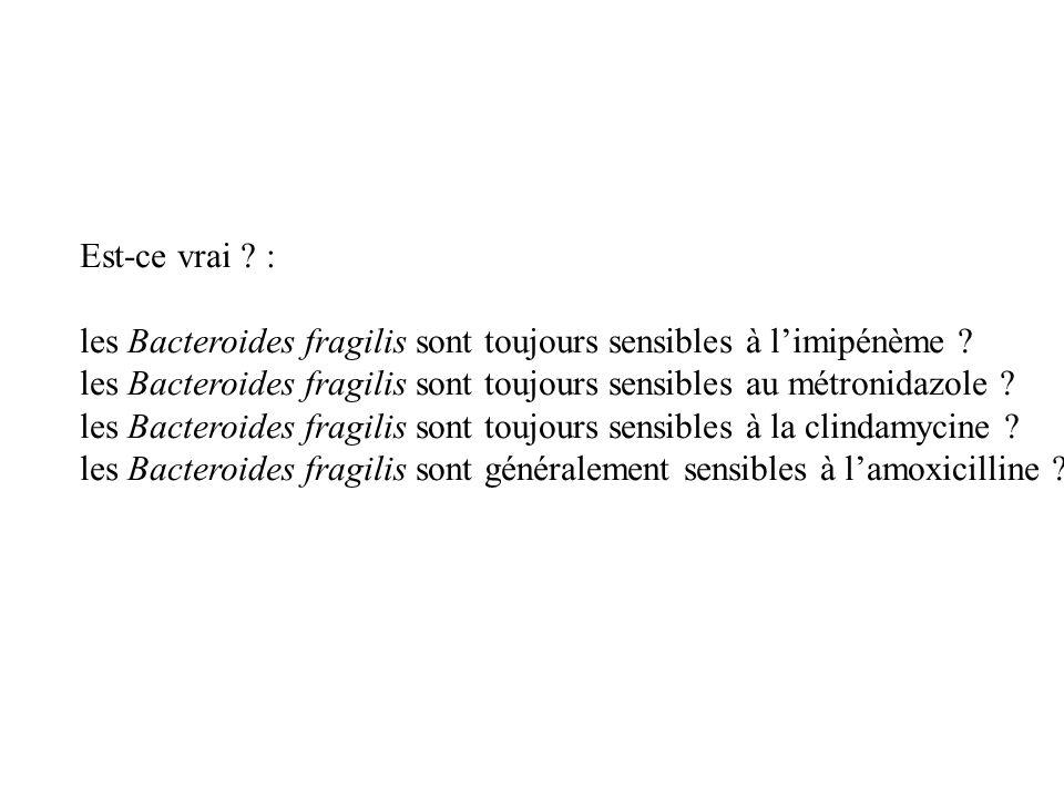 Est-ce vrai : les Bacteroides fragilis sont toujours sensibles à l'imipénème les Bacteroides fragilis sont toujours sensibles au métronidazole