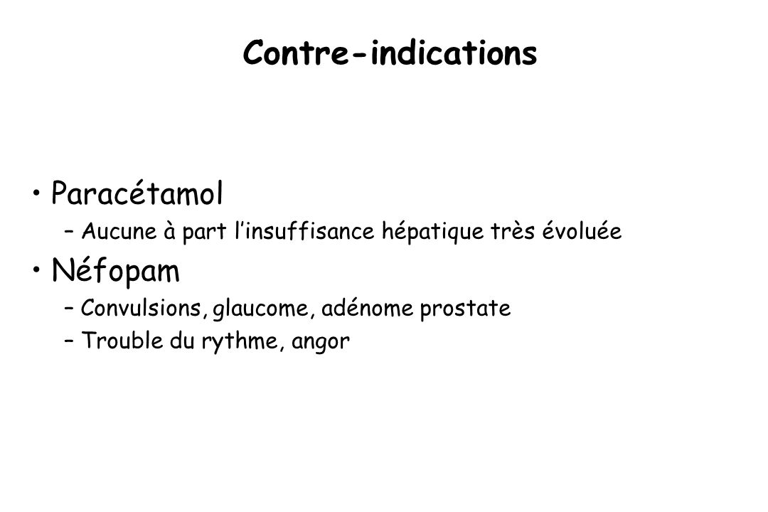 Contre-indications Paracétamol Néfopam
