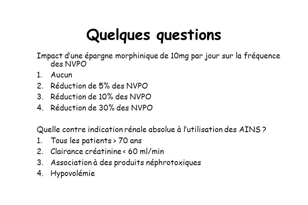 Quelques questions Impact d'une épargne morphinique de 10mg par jour sur la fréquence des NVPO. Aucun.