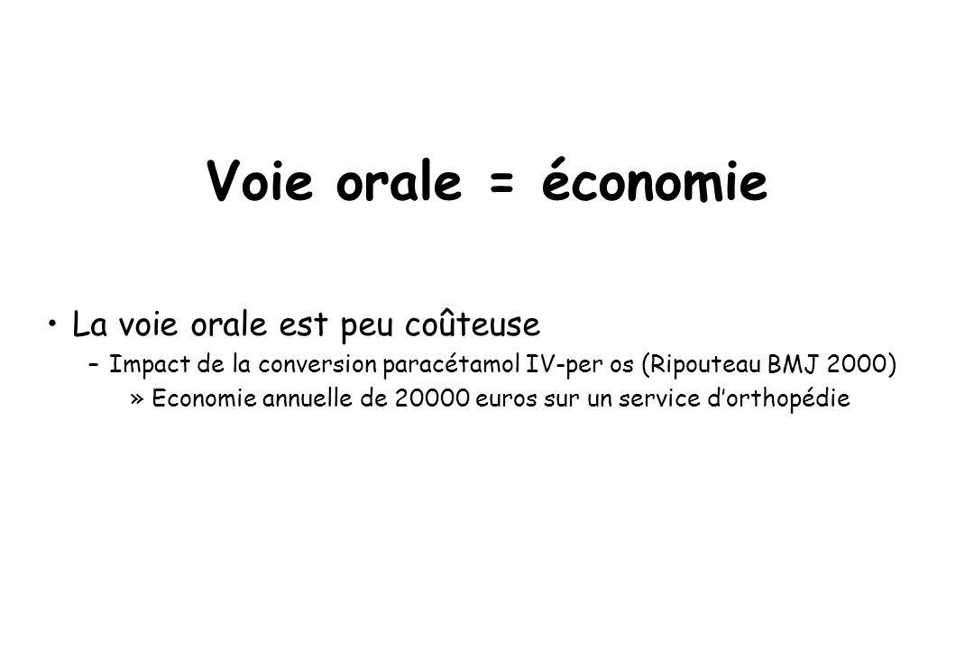Voie orale = économie La voie orale est peu coûteuse