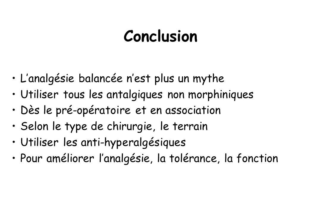 Conclusion L'analgésie balancée n'est plus un mythe