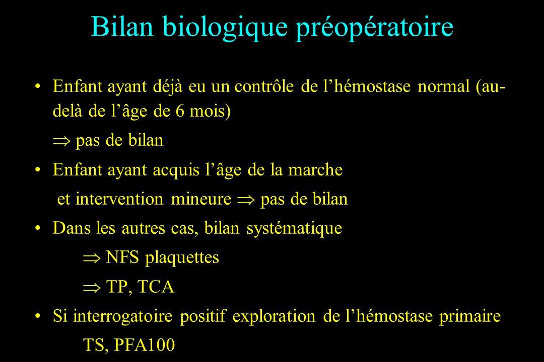 Bilan biologique préopératoire