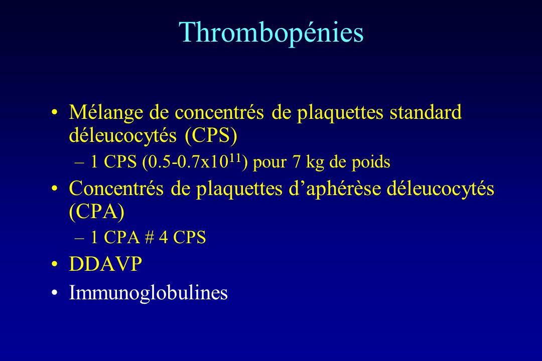 Thrombopénies Mélange de concentrés de plaquettes standard déleucocytés (CPS) 1 CPS (0.5-0.7x1011) pour 7 kg de poids.