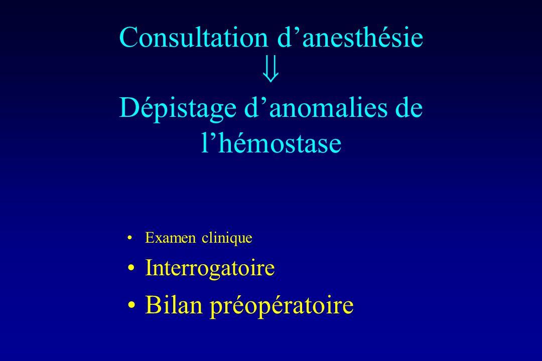 Consultation d'anesthésie  Dépistage d'anomalies de l'hémostase