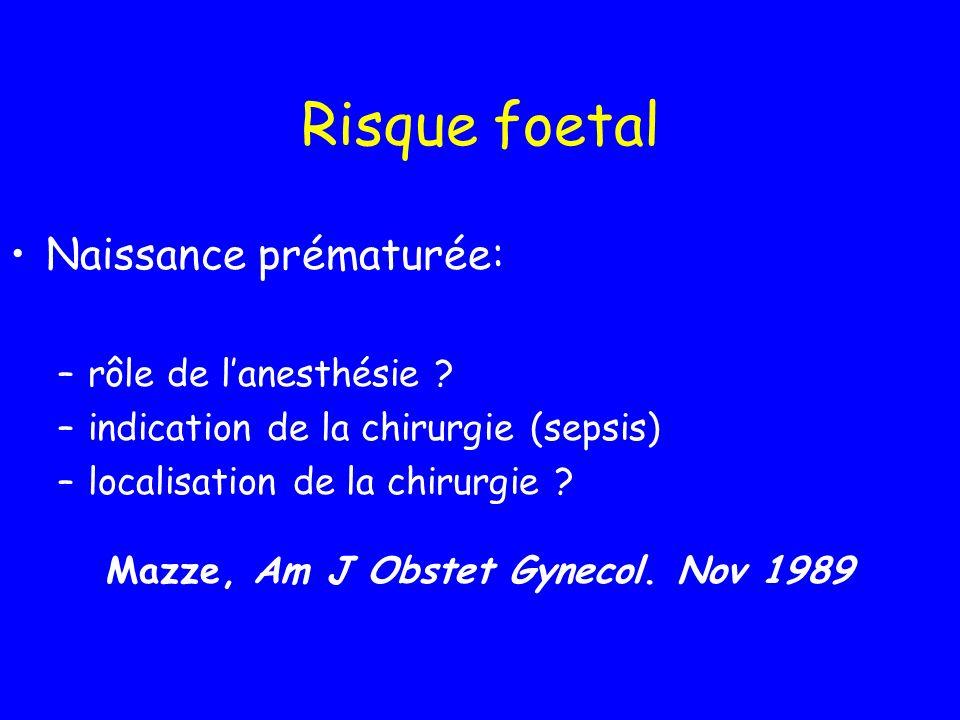 Risque foetal Naissance prématurée: rôle de l'anesthésie