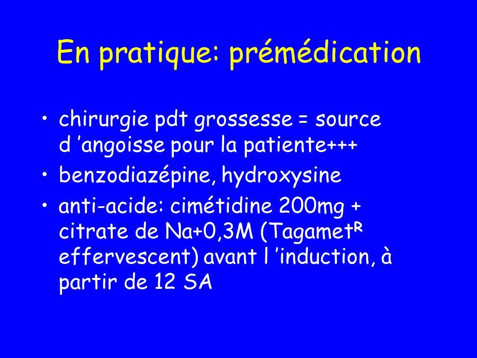 En pratique: prémédication