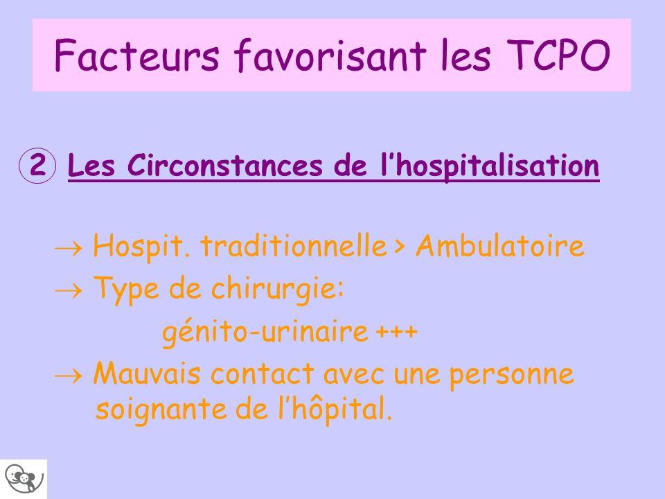 Facteurs favorisant les TCPO