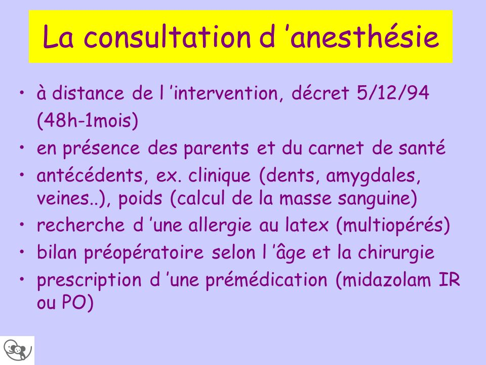 La consultation d 'anesthésie