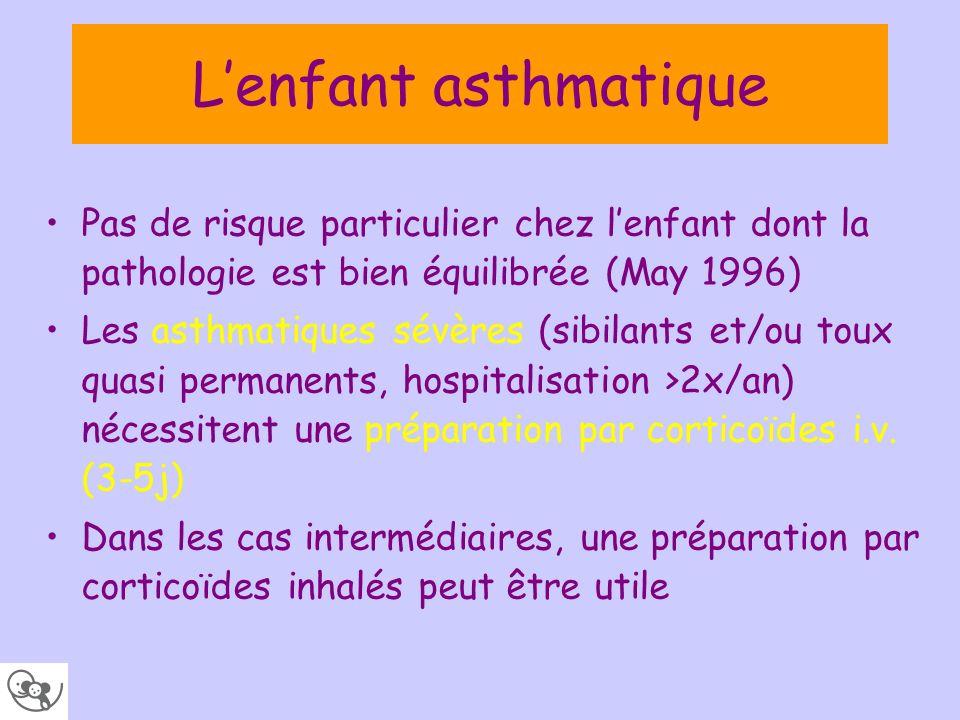 L'enfant asthmatique Pas de risque particulier chez l'enfant dont la pathologie est bien équilibrée (May 1996)