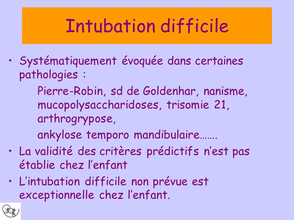 Intubation difficile Systématiquement évoquée dans certaines pathologies :