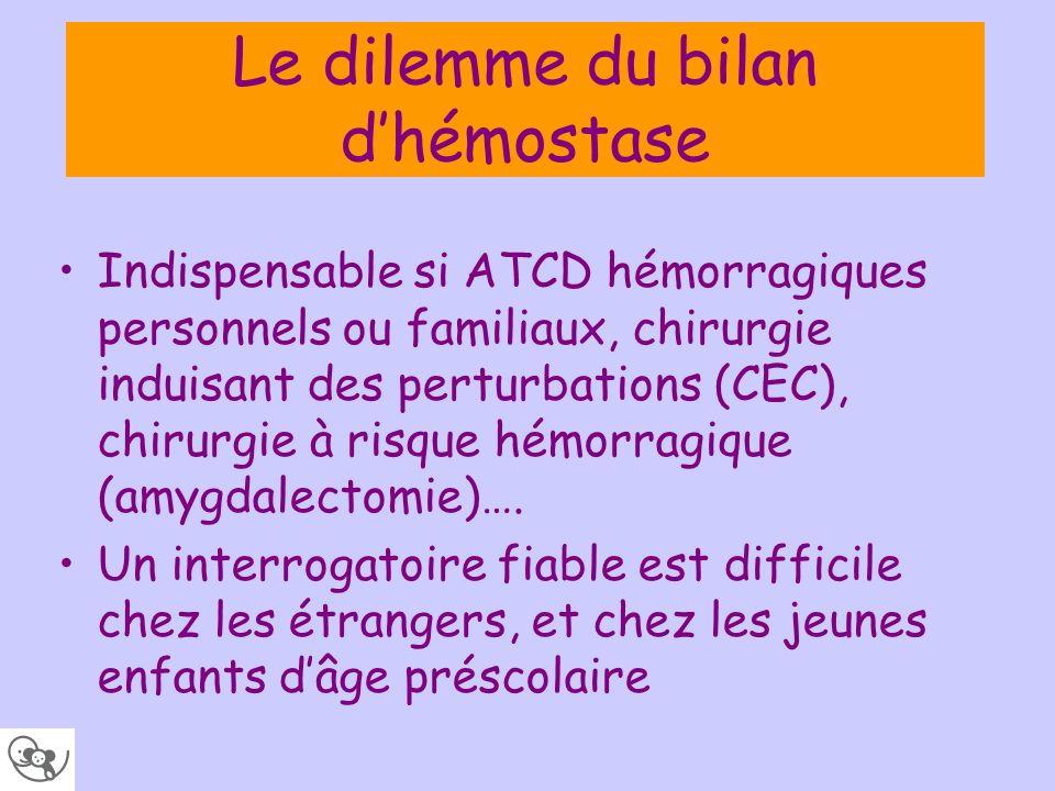 Le dilemme du bilan d'hémostase