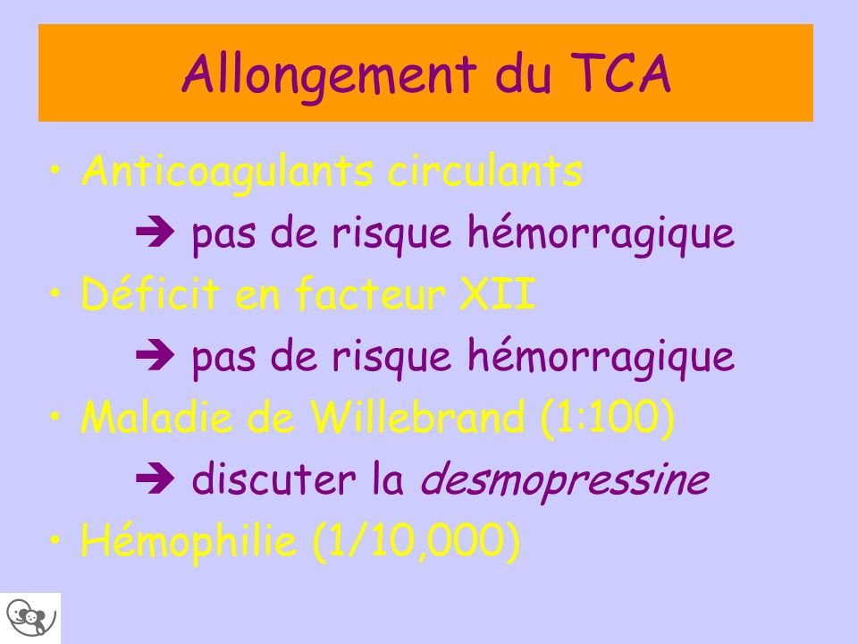 Allongement du TCA Anticoagulants circulants