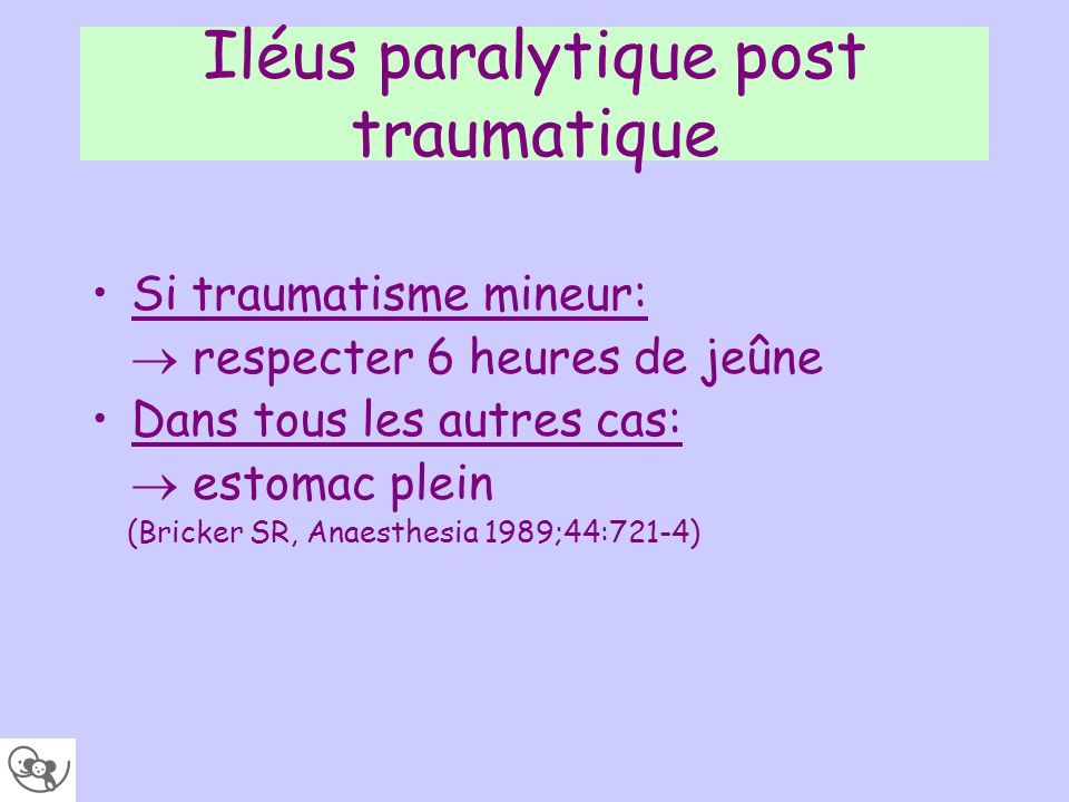 Iléus paralytique post traumatique