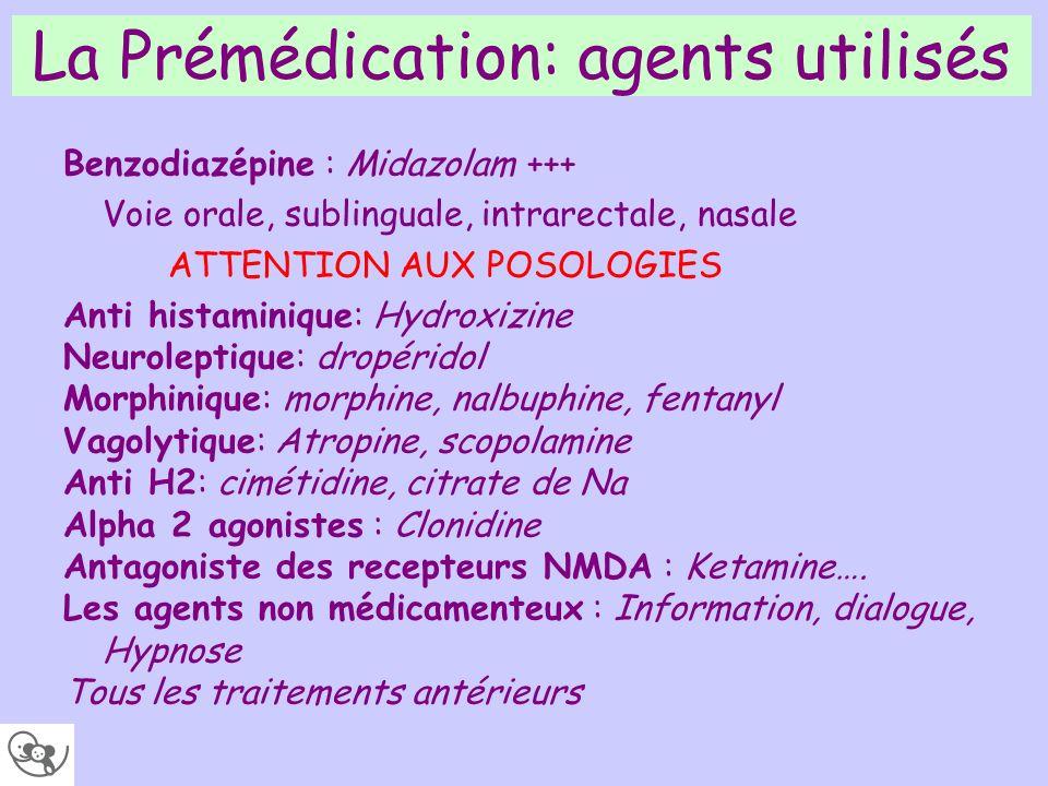 La Prémédication: agents utilisés