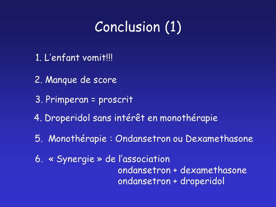 Conclusion (1) 1. L'enfant vomit!!! 2. Manque de score