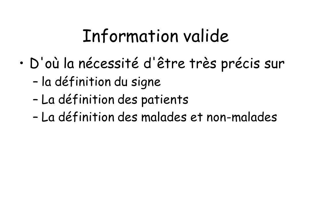 Information valide D où la nécessité d être très précis sur