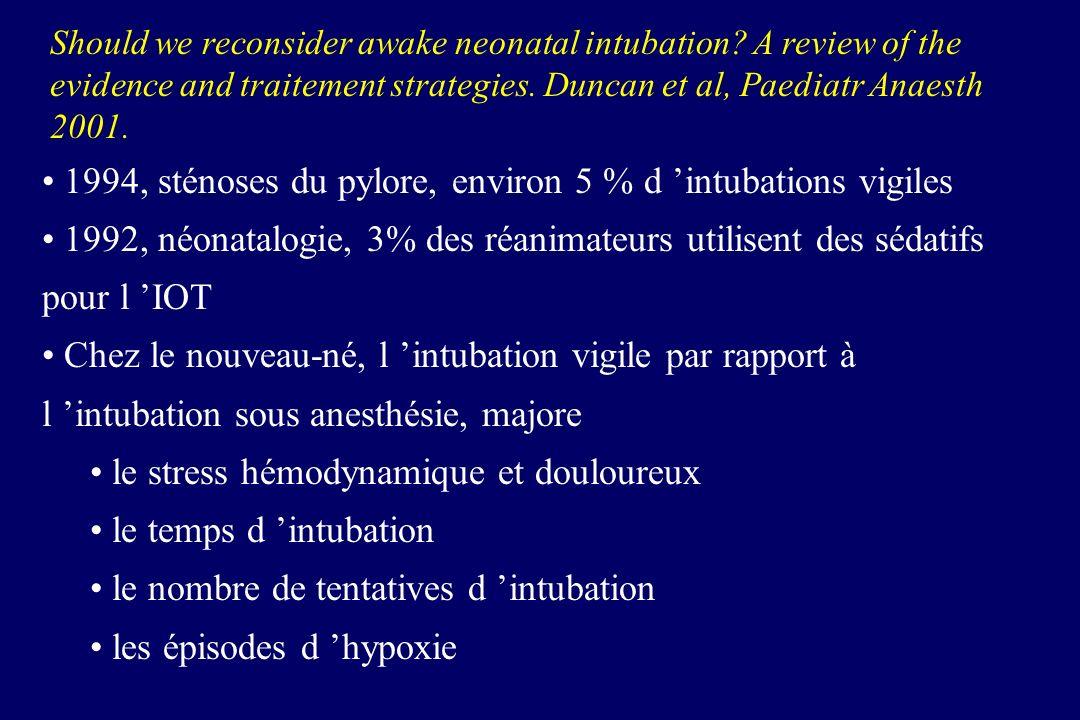1994, sténoses du pylore, environ 5 % d 'intubations vigiles